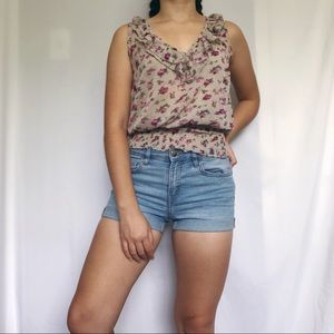 American Rag floral sheer ruffle blouse